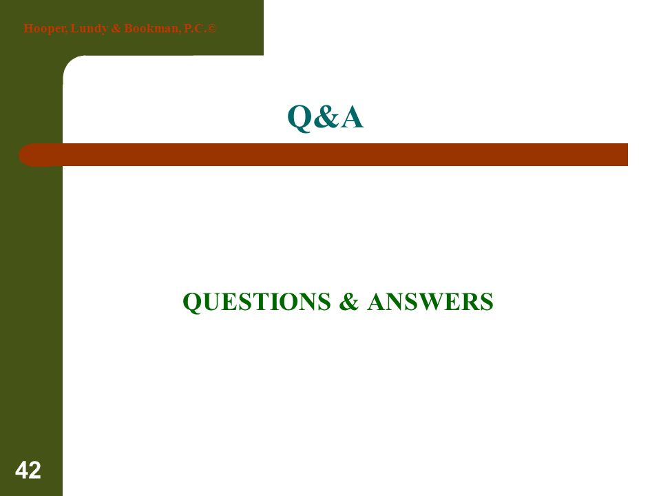 Q&A QUESTIONS & ANSWERS