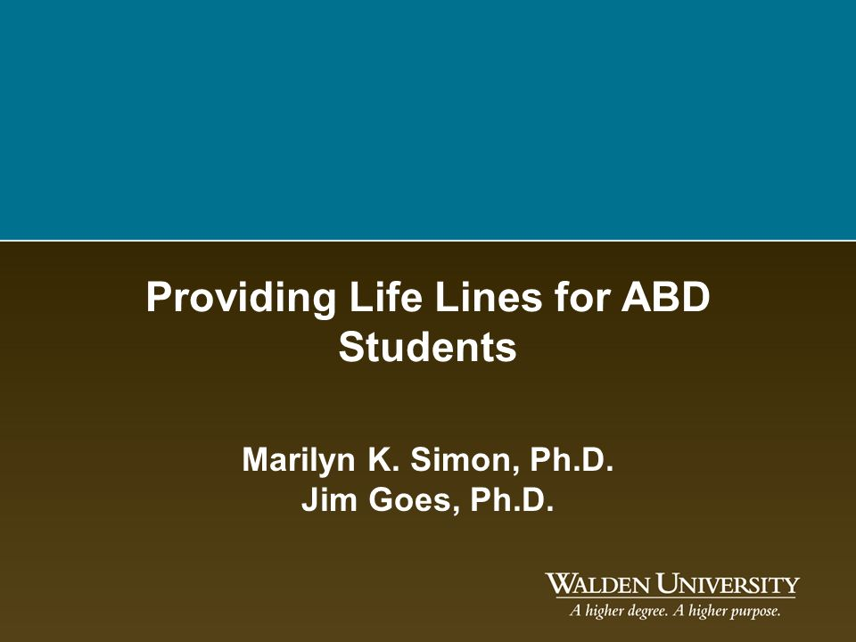 Providing Life Lines for ABD Students