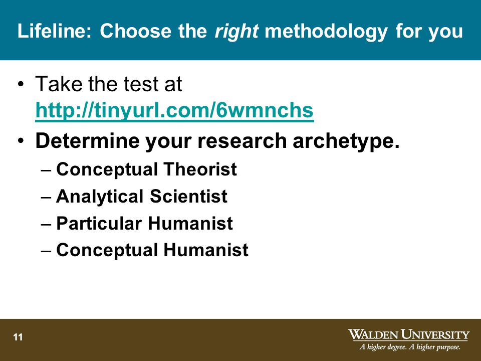 Lifeline: Choose the right methodology for you