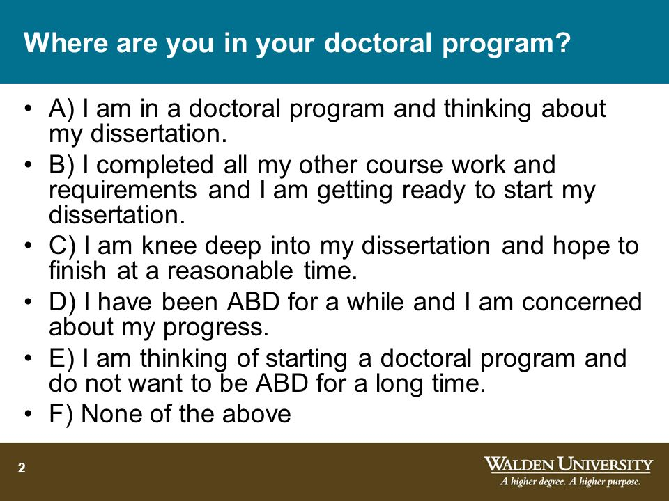 Where are you in your doctoral program