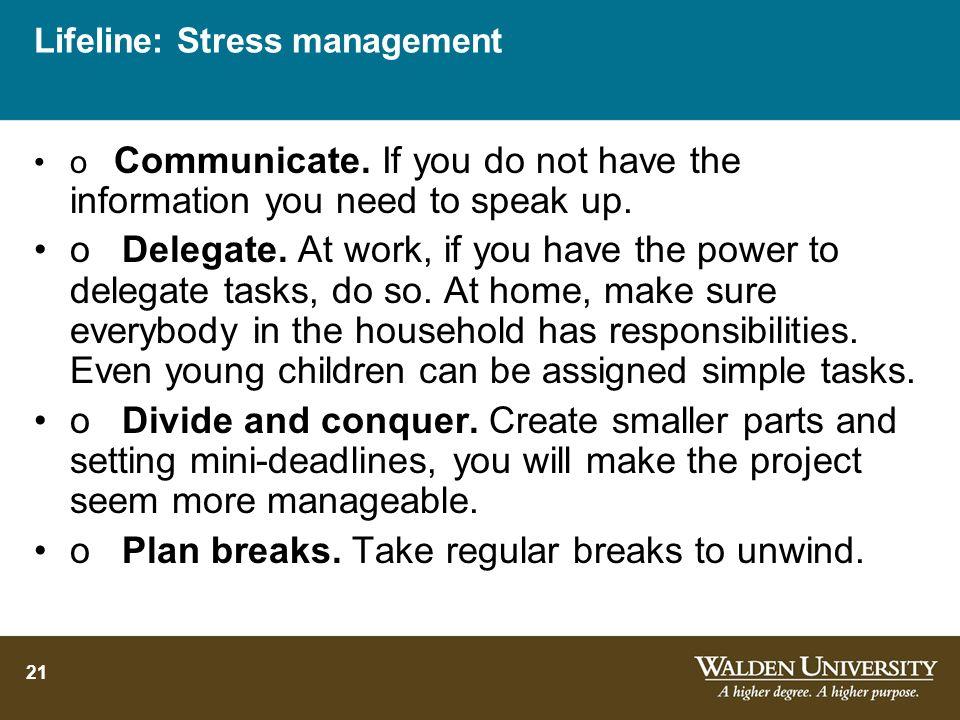 Lifeline: Stress management