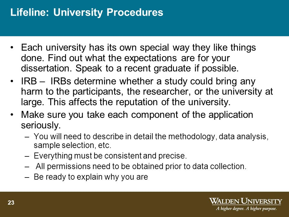 Lifeline: University Procedures