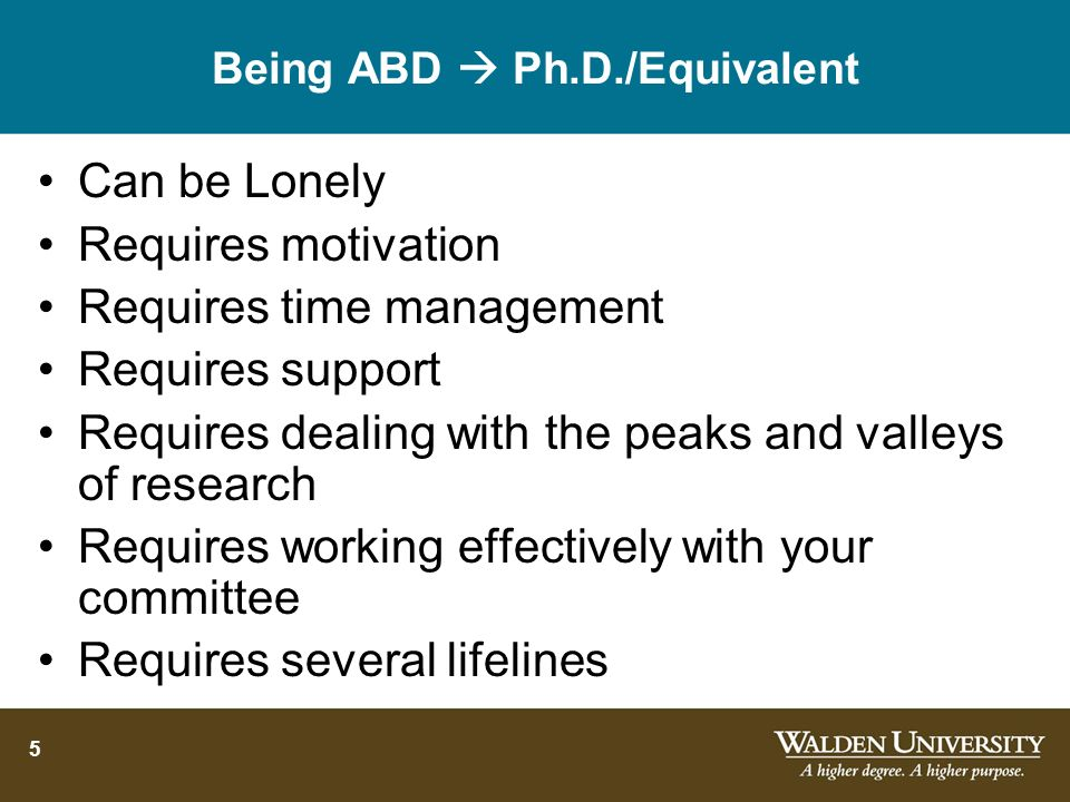 Being ABD  Ph.D./Equivalent