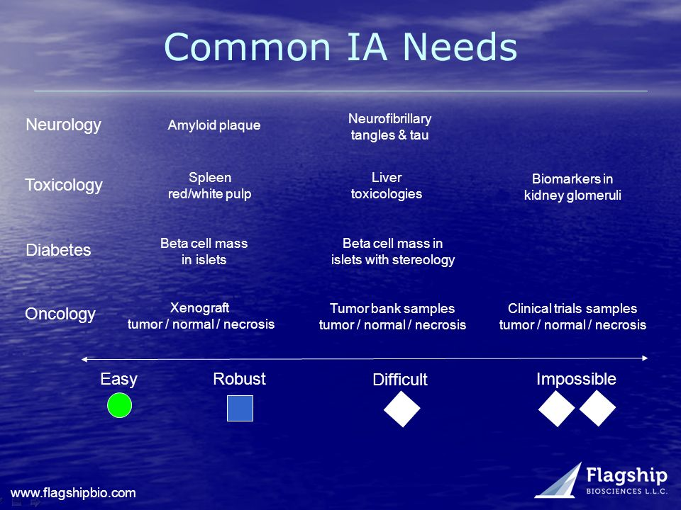 Common IA Needs Neurology Toxicology Diabetes Oncology Easy Robust