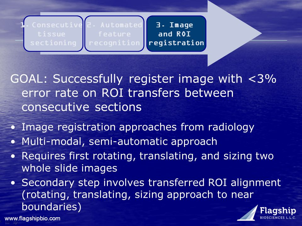 Consecutive tissue. sectioning. 2. Automated. feature. recognition. 3. Image. and ROI. registration.