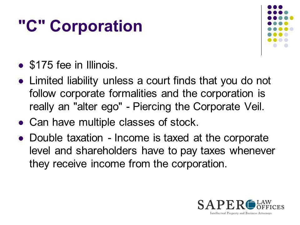 C Corporation $175 fee in Illinois.