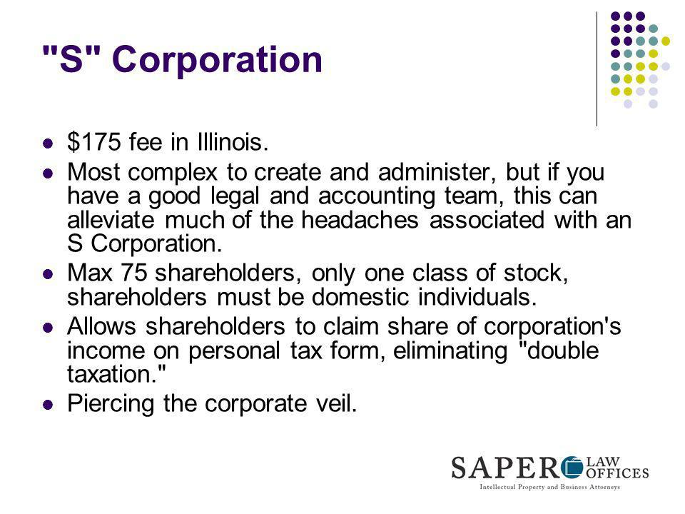 S Corporation $175 fee in Illinois.