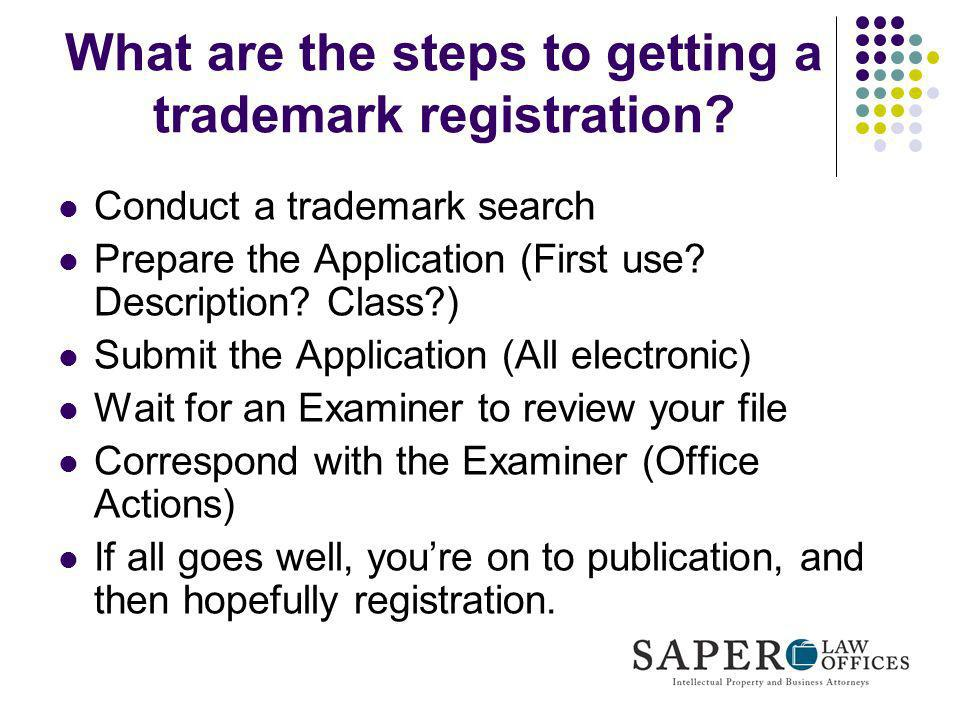 What are the steps to getting a trademark registration