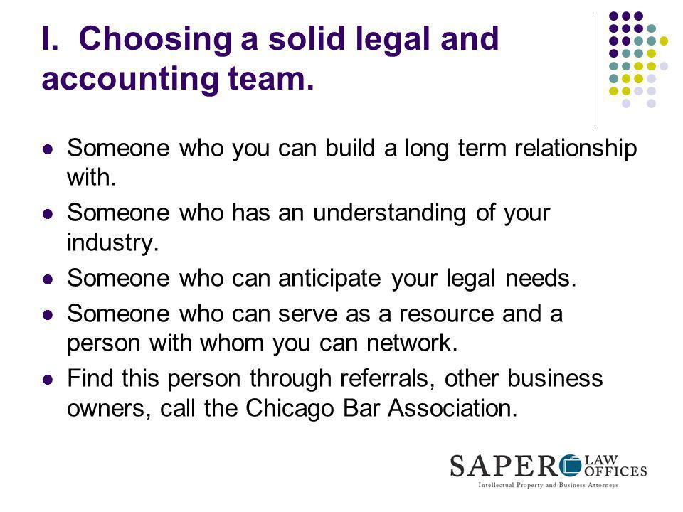 I. Choosing a solid legal and accounting team.
