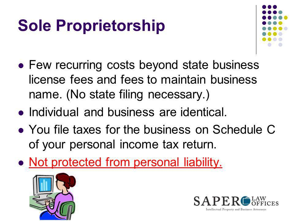 Sole ProprietorshipFew recurring costs beyond state business license fees and fees to maintain business name. (No state filing necessary.)