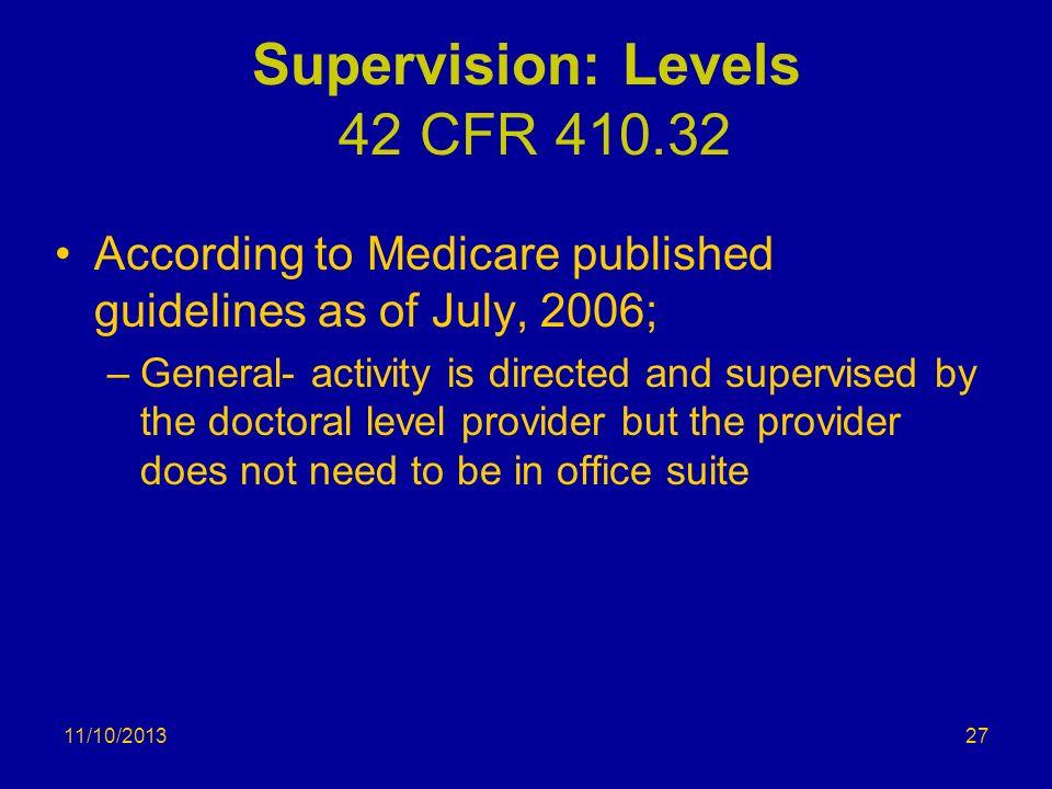 Supervision: Levels 42 CFR 410.32