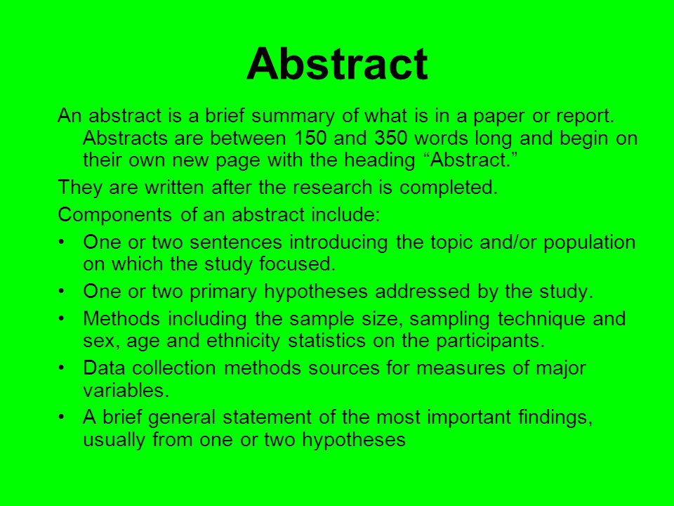 writing an abstract for a research paper apa