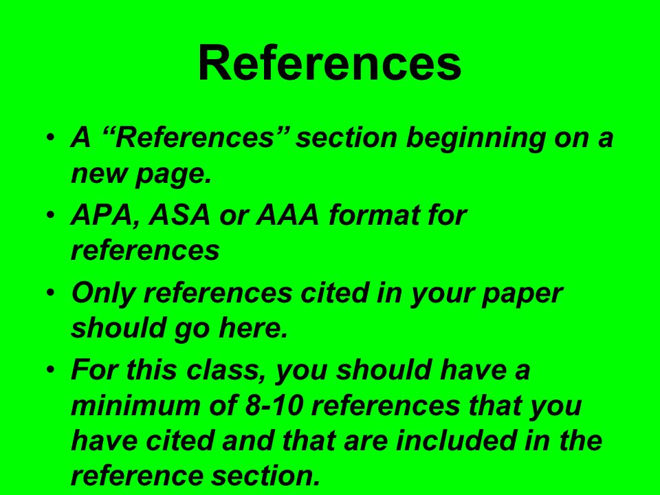 References A References section beginning on a new page.