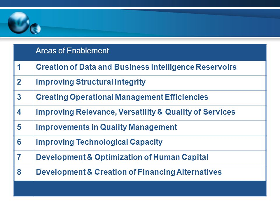 Areas of Enablement 1. Creation of Data and Business Intelligence Reservoirs. 2. Improving Structural Integrity.