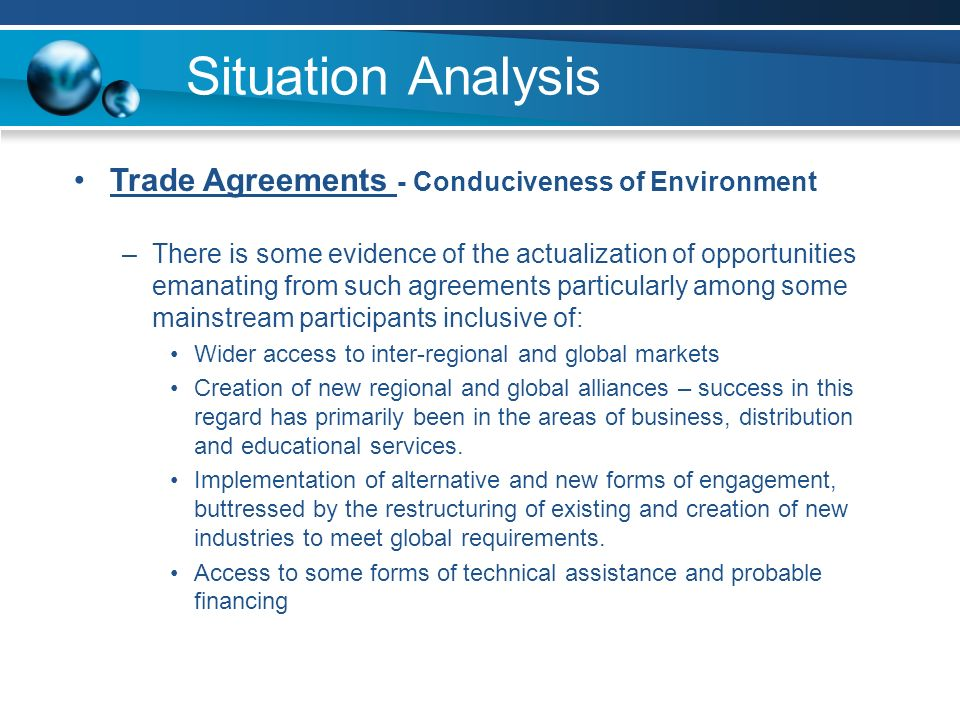 Situation Analysis Trade Agreements - Conduciveness of Environment