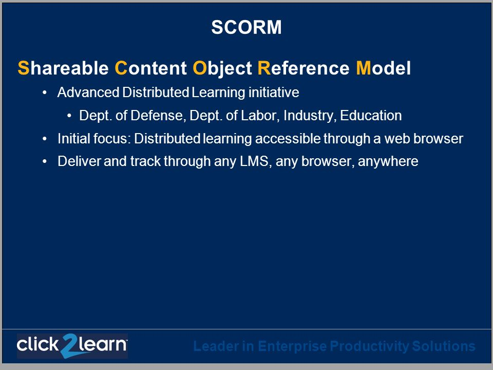 Shareable Content Object Reference Model