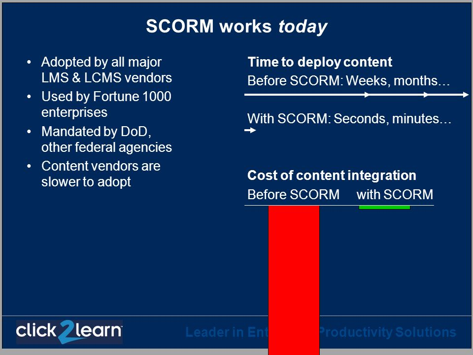 SCORM works today Adopted by all major LMS & LCMS vendors