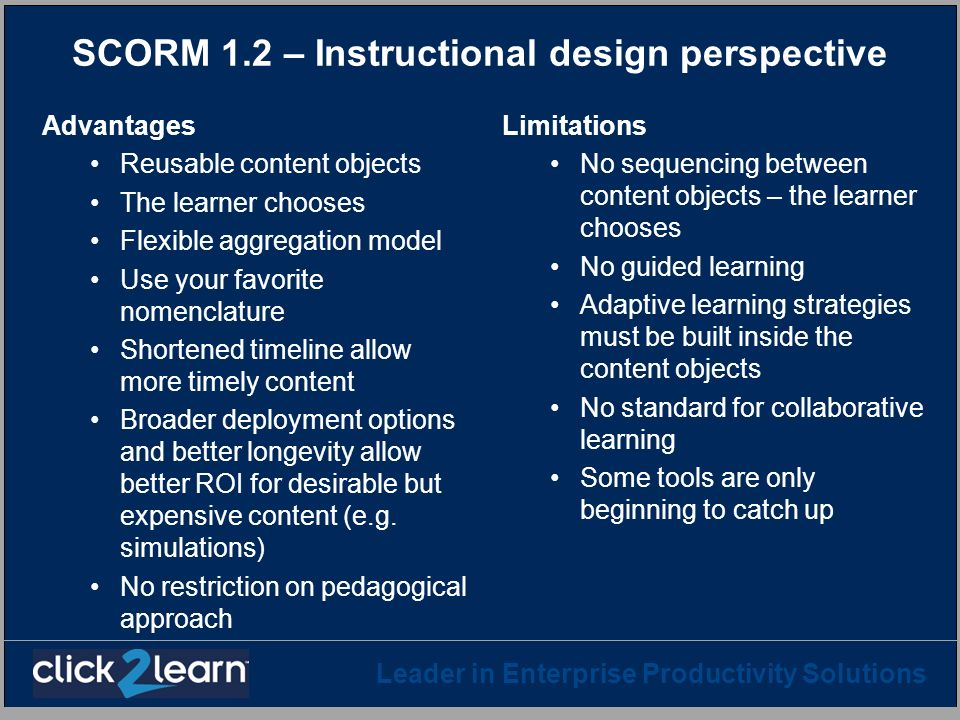 SCORM 1.2 – Instructional design perspective