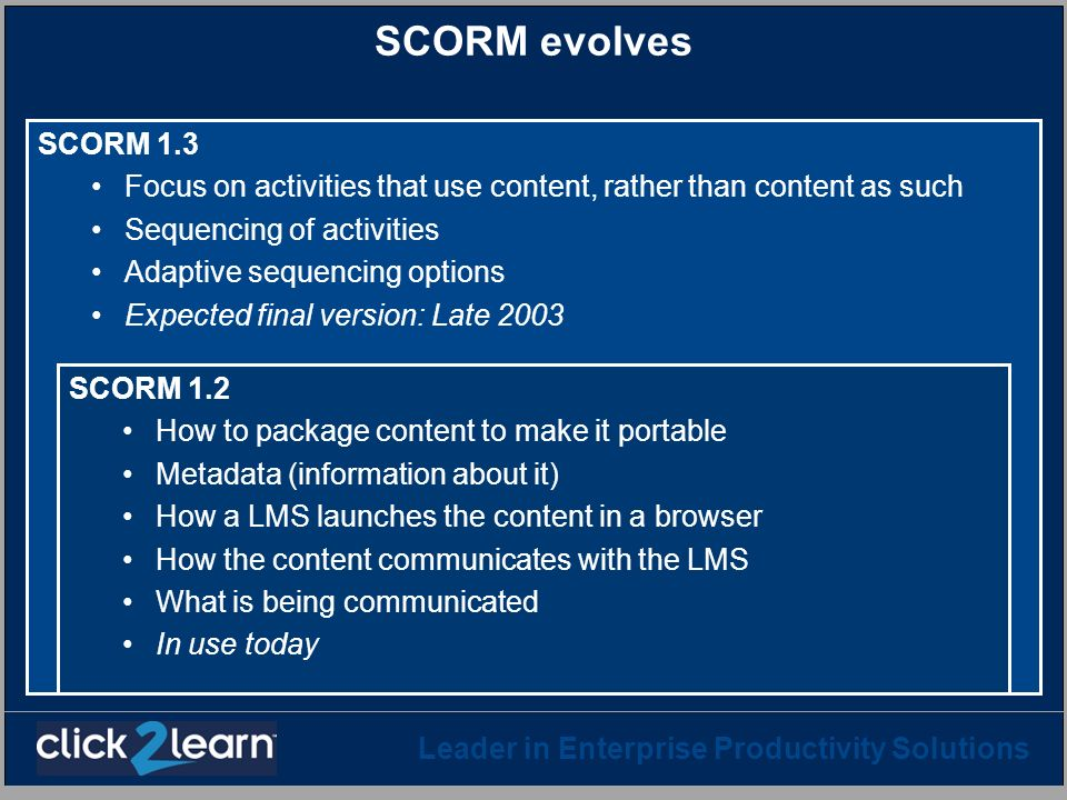 SCORM evolves SCORM 1.3. Focus on activities that use content, rather than content as such. Sequencing of activities.