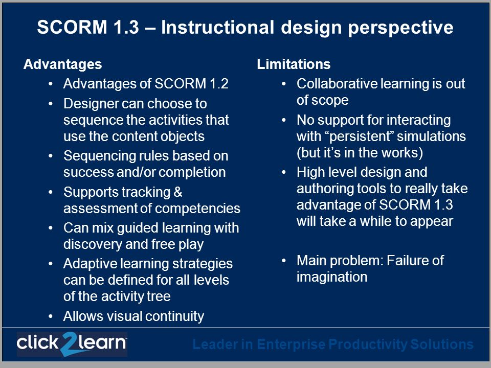 SCORM 1.3 – Instructional design perspective