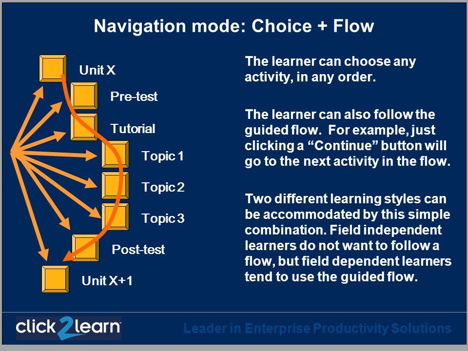 Navigation mode: Choice + Flow
