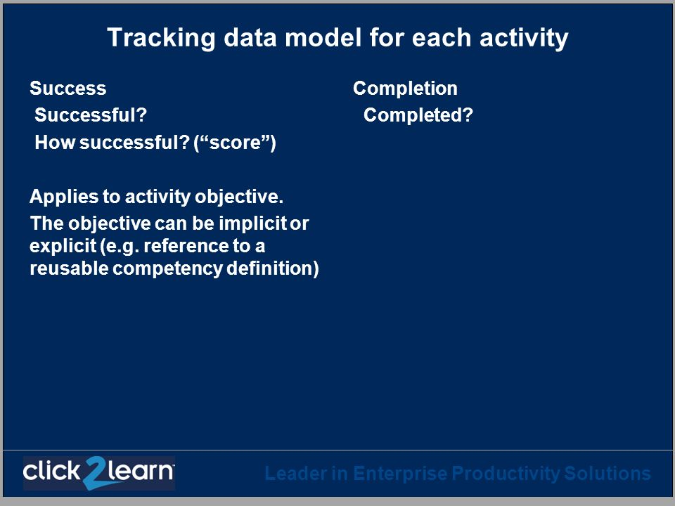 Tracking data model for each activity