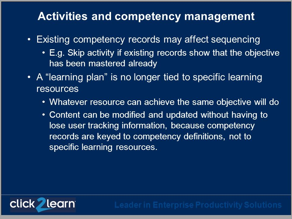 Activities and competency management