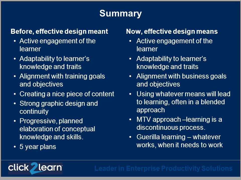 Summary Before, effective design meant