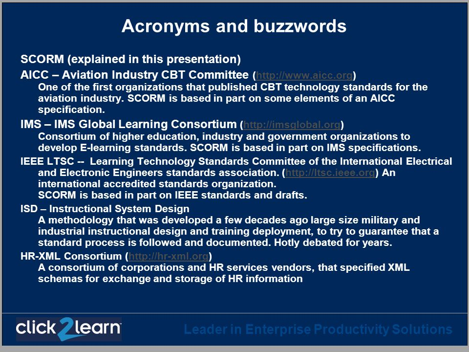 Acronyms and buzzwords