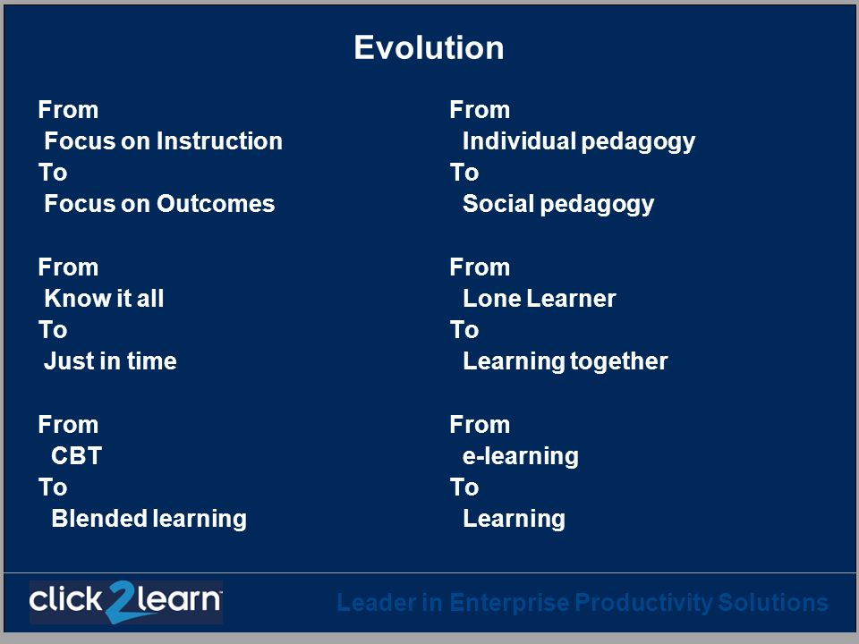 Evolution From Focus on Instruction To Focus on Outcomes Know it all