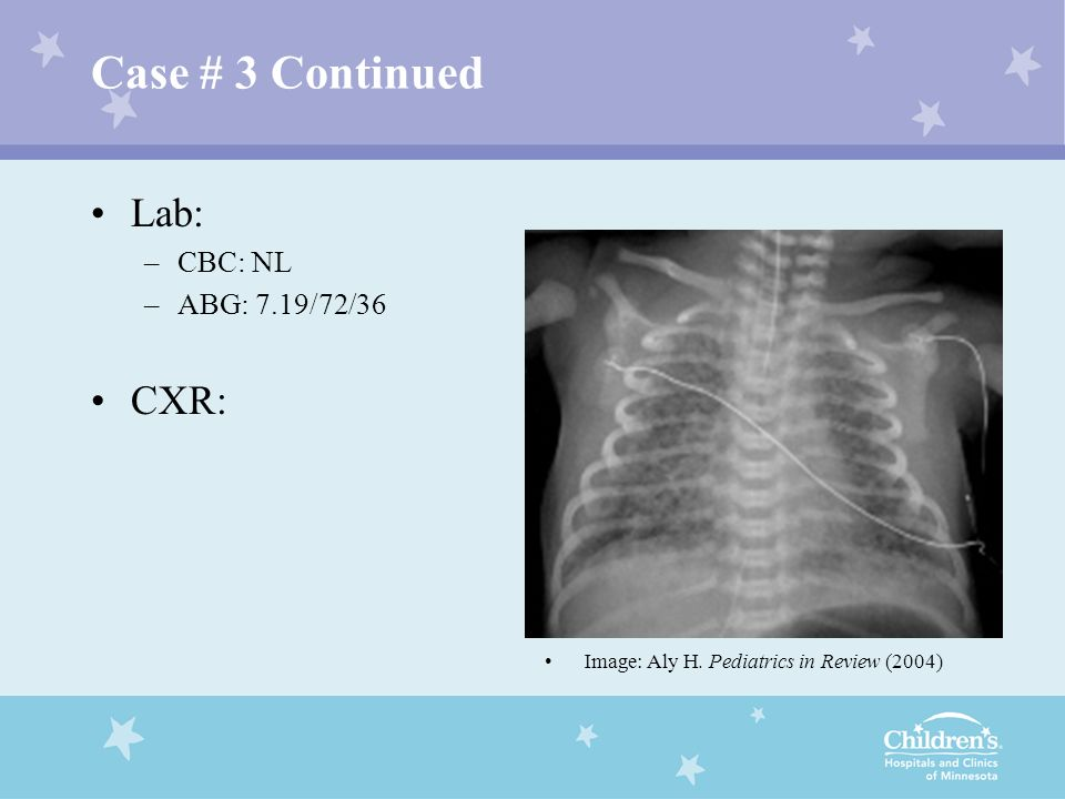 Case # 3 Continued Lab: CXR: CBC: NL ABG: 7.19/72/36