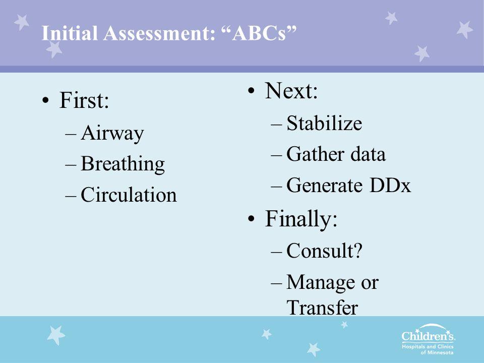 Initial Assessment: ABCs