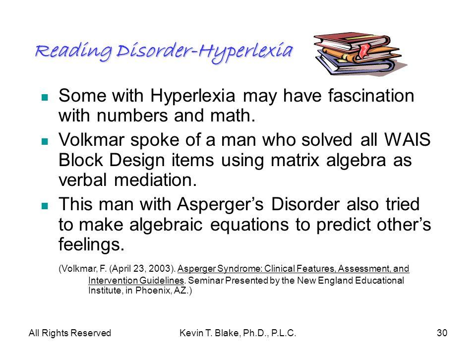 Reading Disorder-Hyperlexia