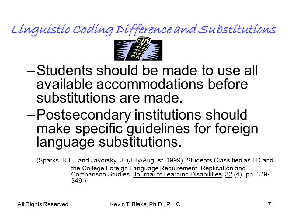 Linguistic Coding Difference and Substitutions
