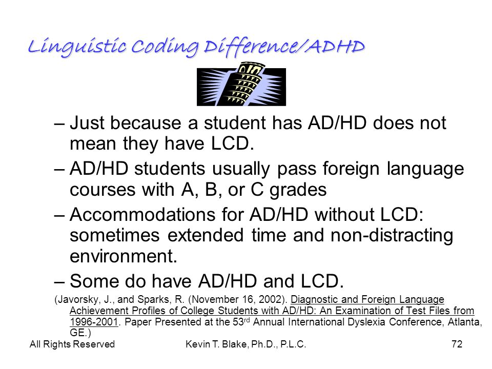 Linguistic Coding Difference/ADHD