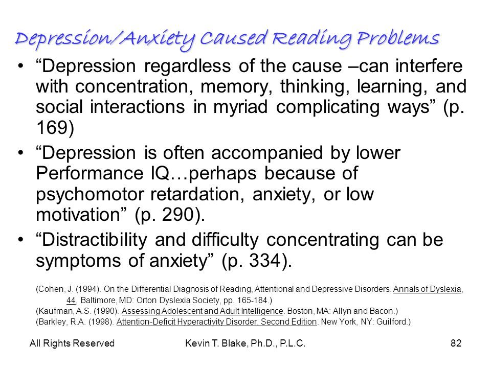 Depression/Anxiety Caused Reading Problems