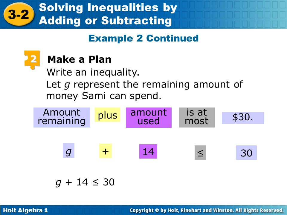 Example 2 Continued 2. Make a Plan. Write an inequality. Let g represent the remaining amount of money Sami can spend.