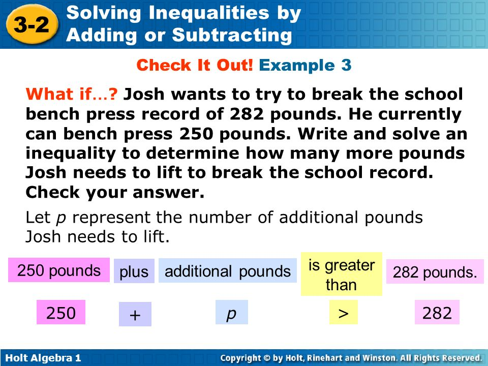 Let p represent the number of additional pounds Josh needs to lift.