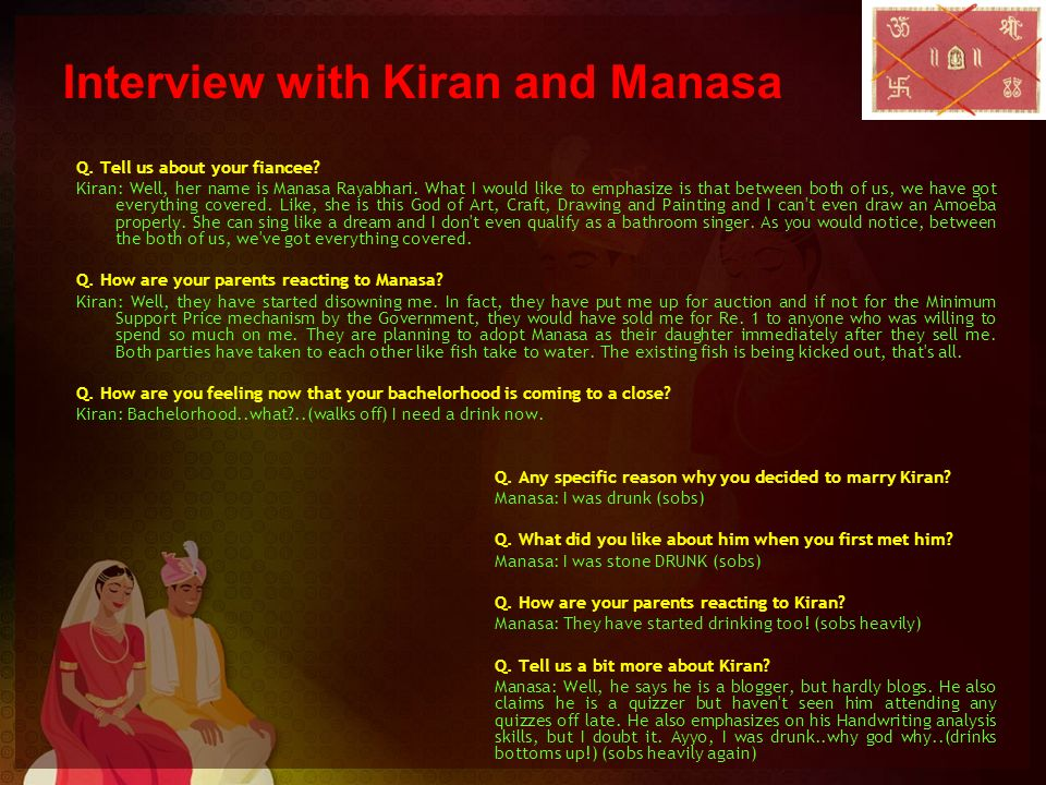 Interview with Kiran and Manasa