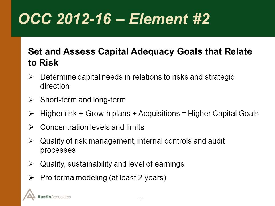 OCC 2012-16 – Element #2 Set and Assess Capital Adequacy Goals that Relate to Risk.