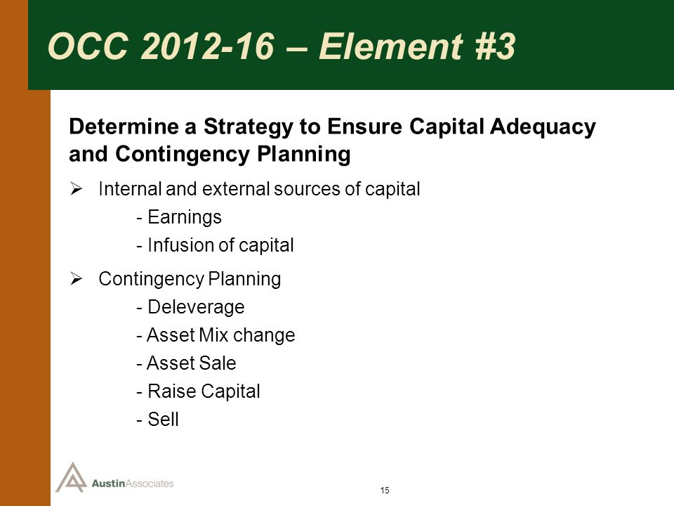 OCC 2012-16 – Element #3 Determine a Strategy to Ensure Capital Adequacy and Contingency Planning. Internal and external sources of capital.