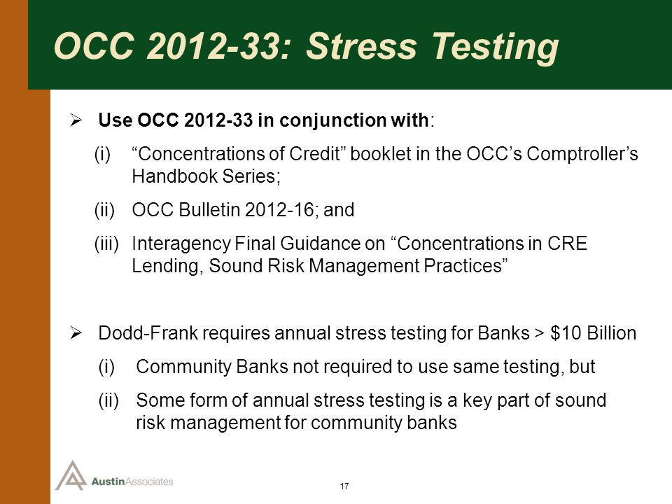 OCC 2012-33: Stress Testing Use OCC 2012-33 in conjunction with: