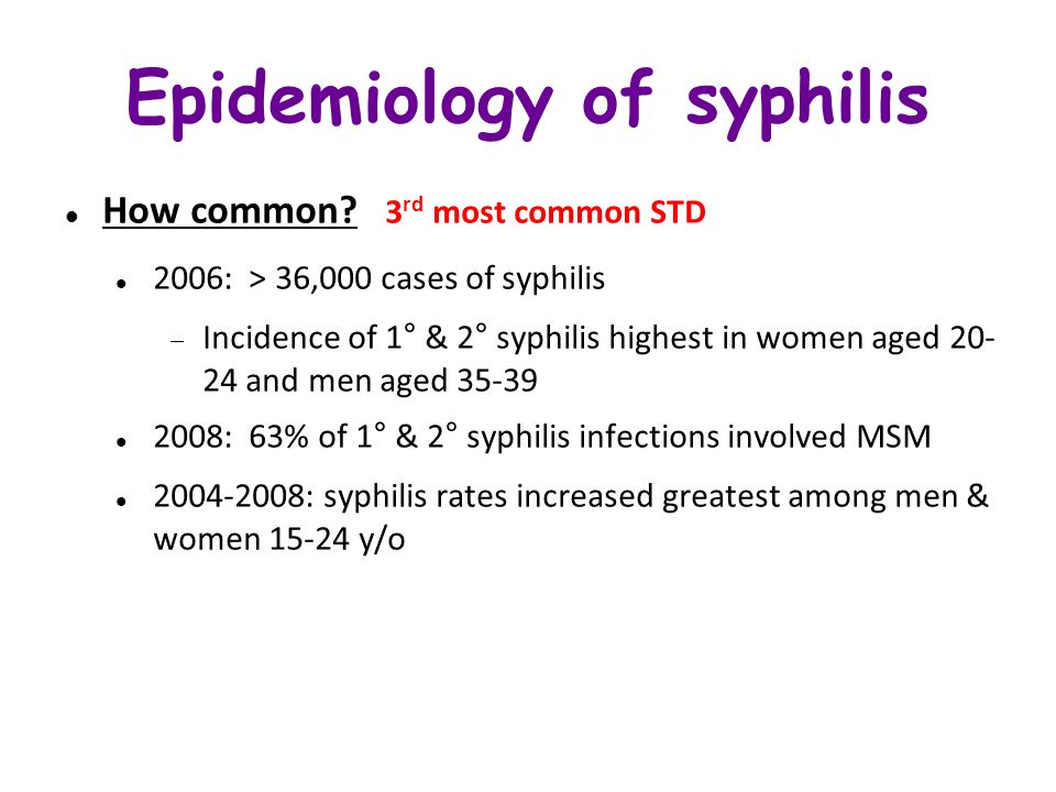 Epidemiology of syphilis