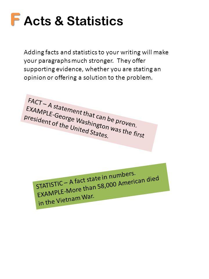 F Acts & Statistics.