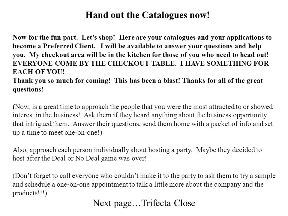 Hand out the Catalogues now!
