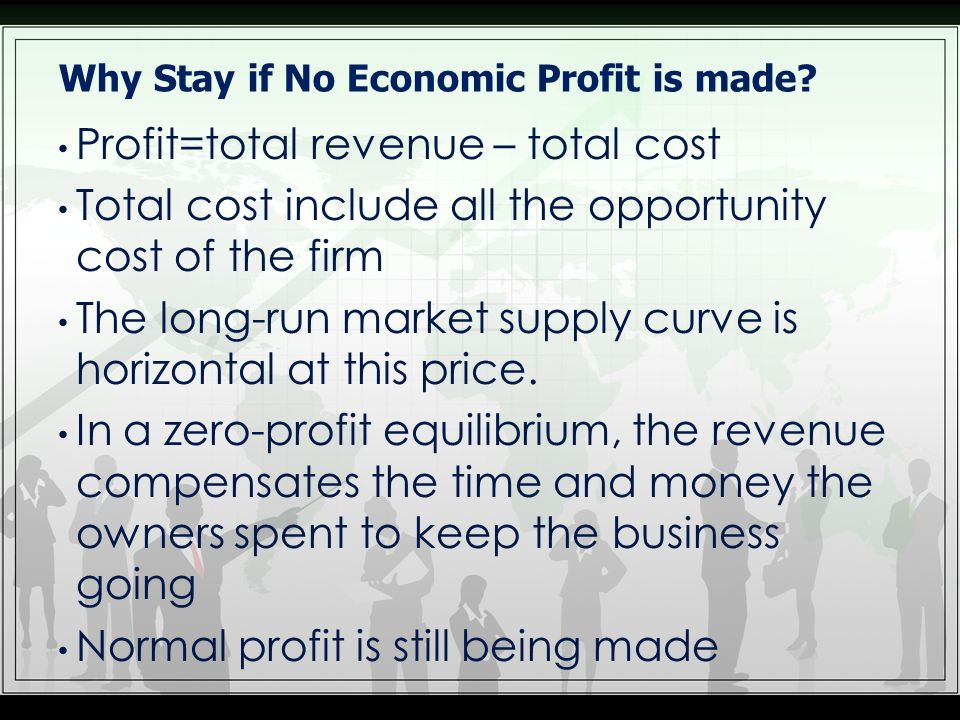 Why Stay if No Economic Profit is made