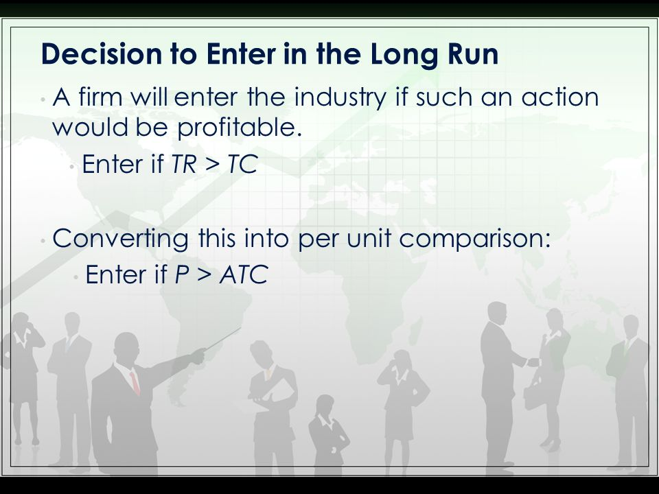 Decision to Enter in the Long Run