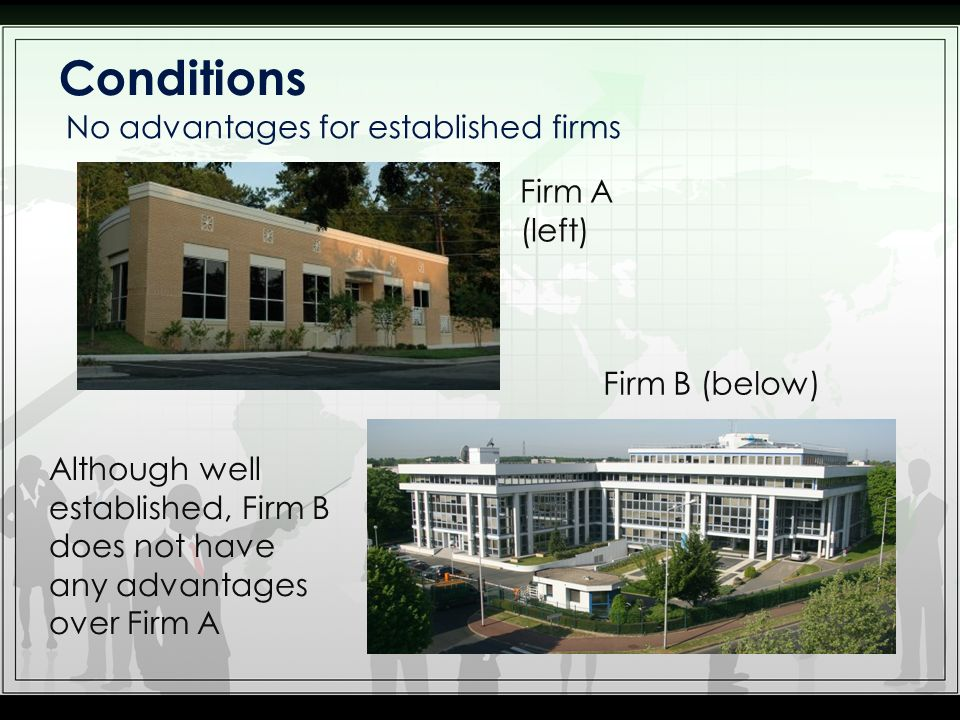 Conditions No advantages for established firms Firm A (left)