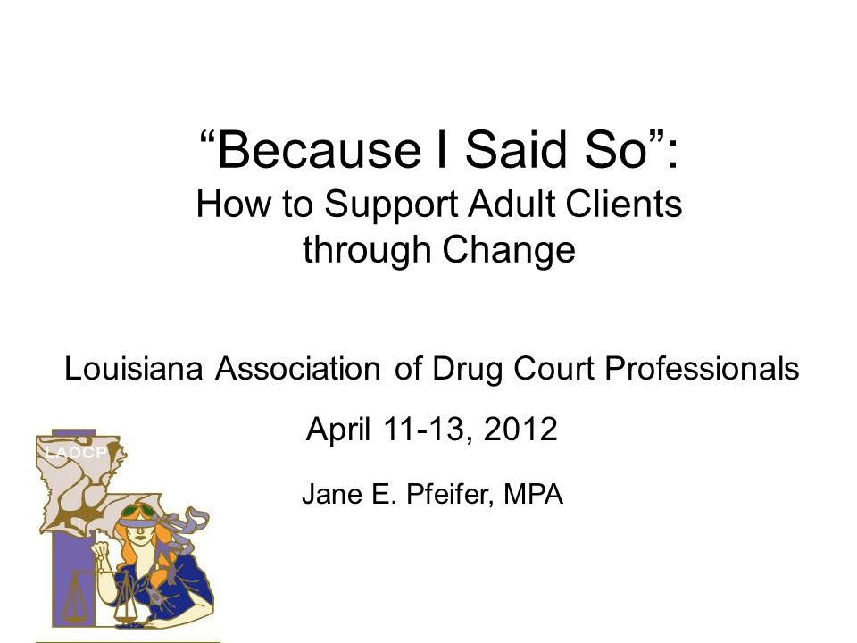 Because I Said So : How to Support Adult Clients through Change