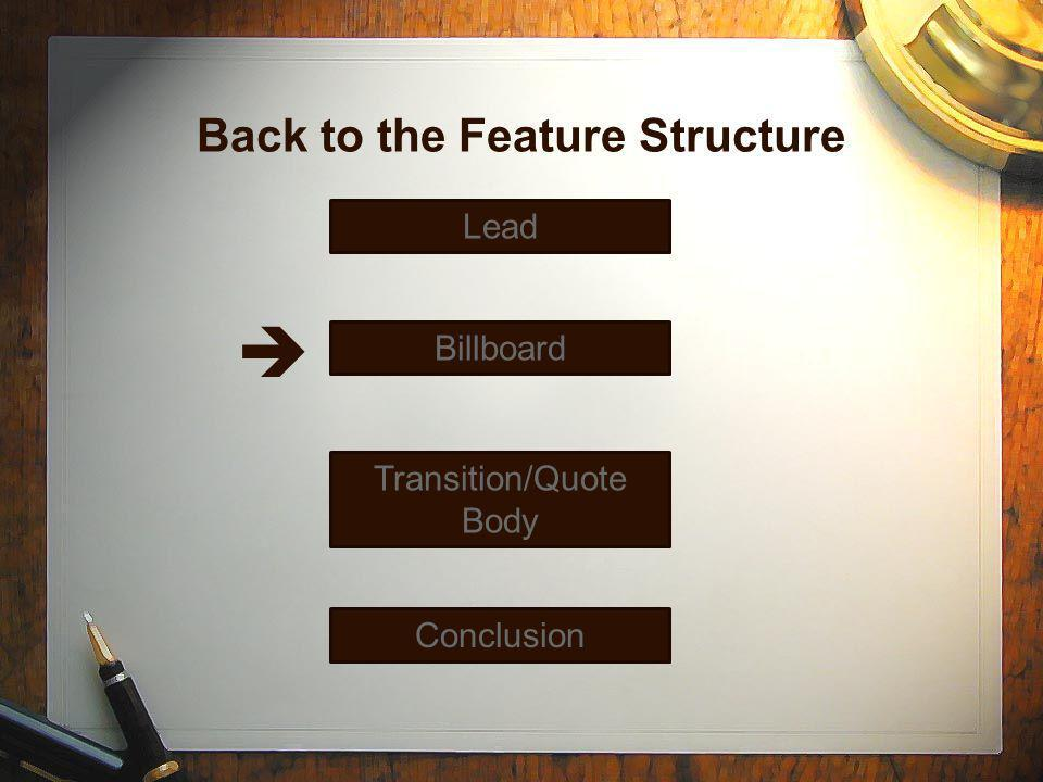 Back to the Feature Structure